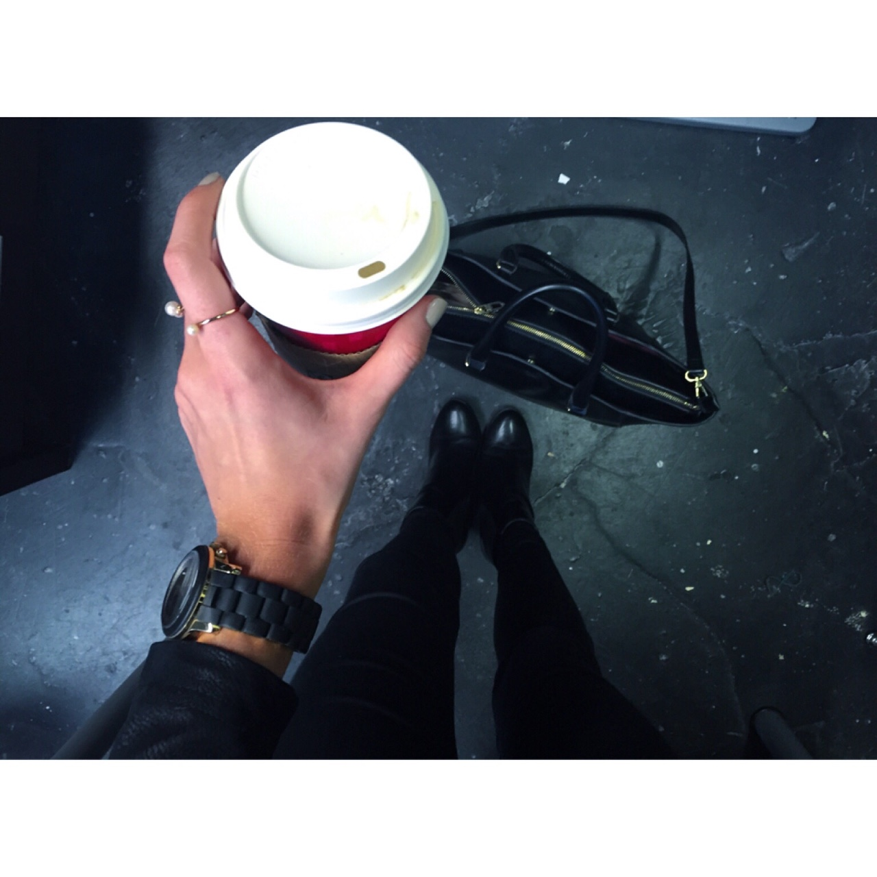 Red Cup Season Red Cups for Christmas @ Starbucks- Skinng Caramel Latte. Black Matte & Gold Michael Kors Watch with little Pearl Rings from H&M. //SHE
