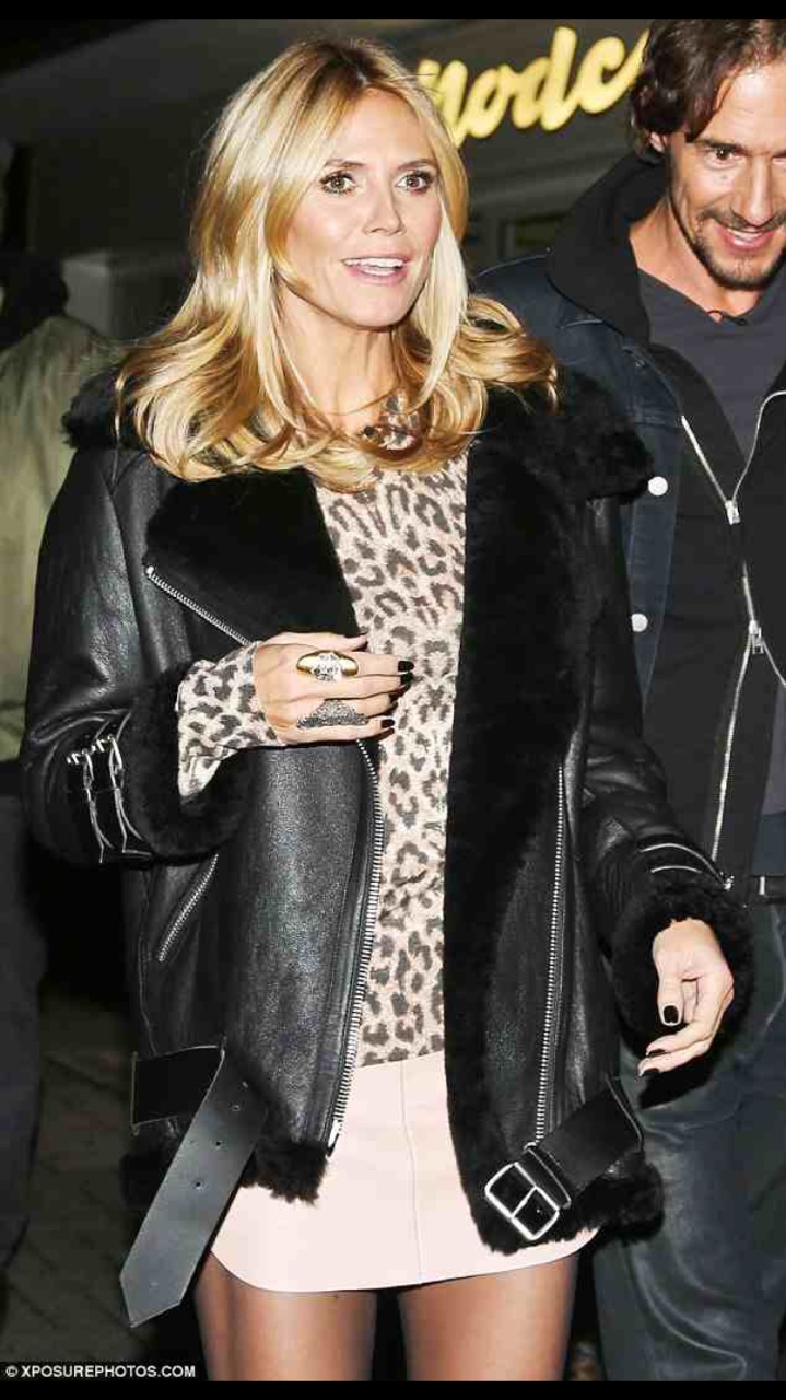 Perfect Leather Jacket Heidi Klum on set of Germany's Next Top Model Wearing Fur Lined Leather Jacket from Acne. //SHE
