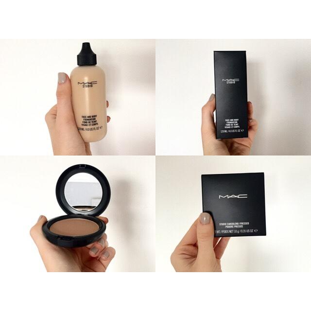 Basics New Mac Cosmetics Products- Face & Body Foundation and Medium Deep Shade Studio Careblend Pressed Powder. //SHE