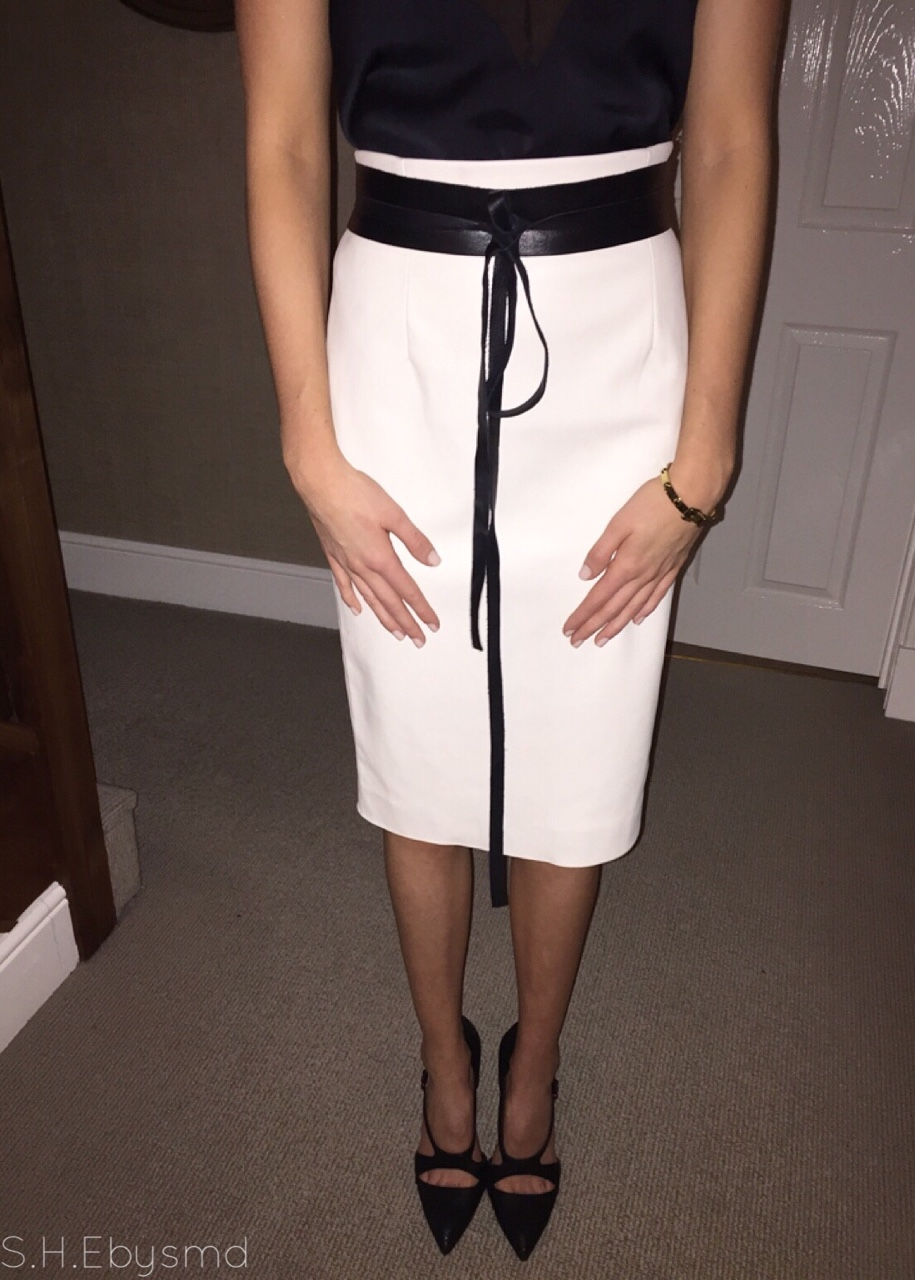 Monochrome Last Night's Outfit Details- Zara White Leather Midi Skirt, Mango Black Leather & Suede Tie Belt, Zara Black Cut Out Heels & MichaelKors Stud Bracelet. //SHE