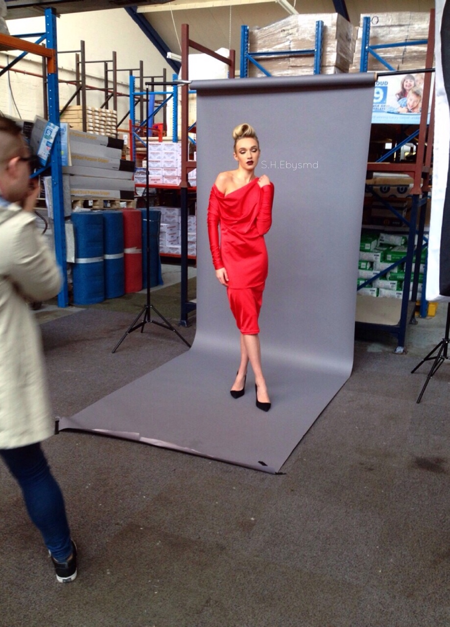 BTS BTS @ Saturday's Shoot for Blacklash Make Up and Hair Artistry in a Vibrant RebeccaTorres Dress. //SHE