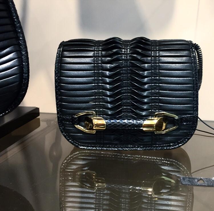 Jimmy Choo Black Zadie Jimmy Choo Bag- Love this Mini Shoulder Bag with Manipulated Leather Pleats. //SHE