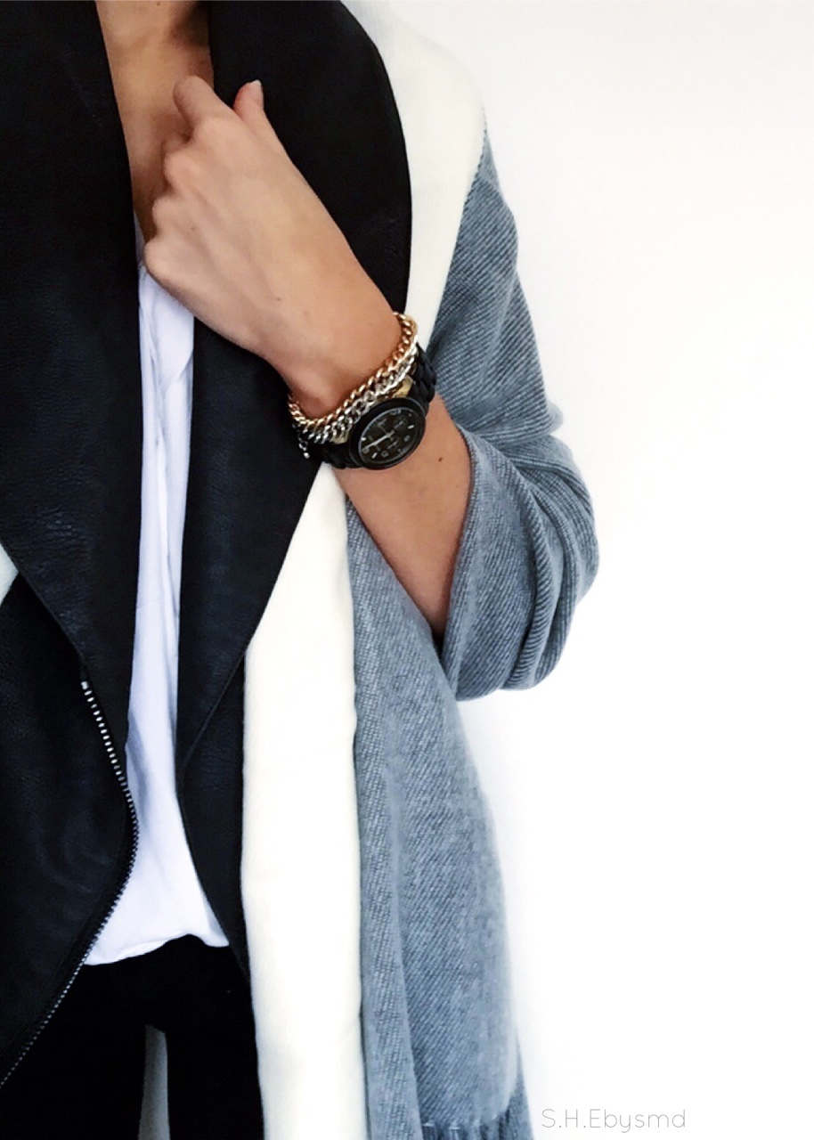 Grey, White & Black Oversized Grey & White Block Scarf from Asos over Suede H&M Waistcoat Accessorised with Michael Kors Matte Black Watch and Gold & Silver Chain Bracelets from H&M. //SHE