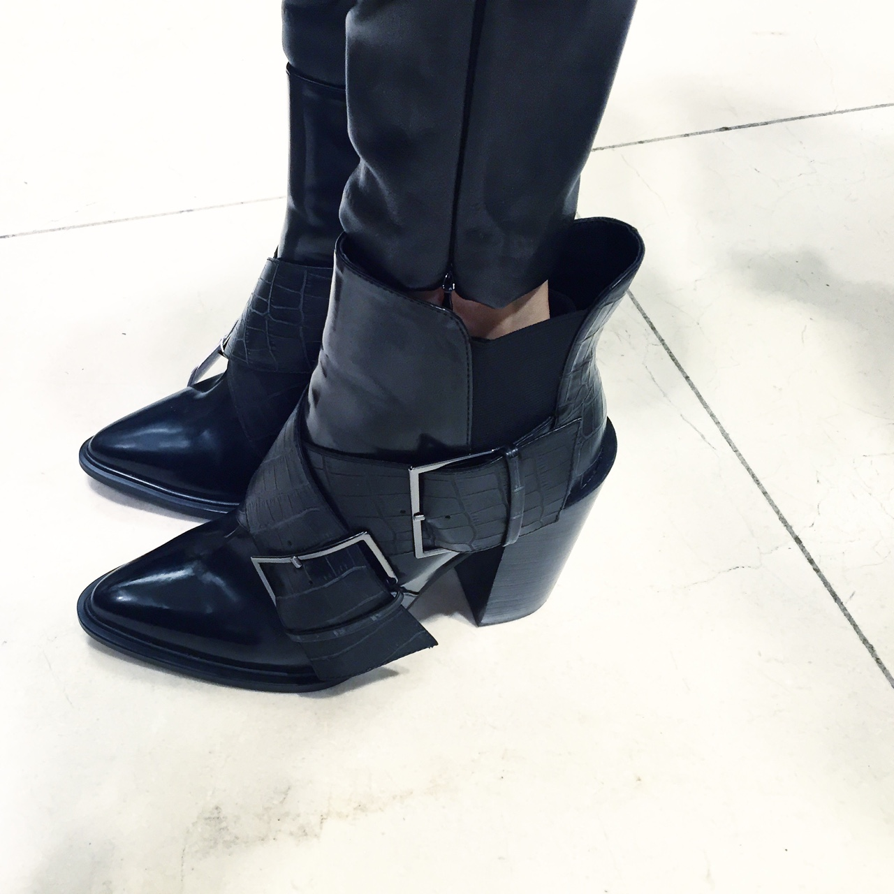 Oversized Cute Booties from Zara with Oversized Straps & Buckles and Croc Embossed Leather. //SHE