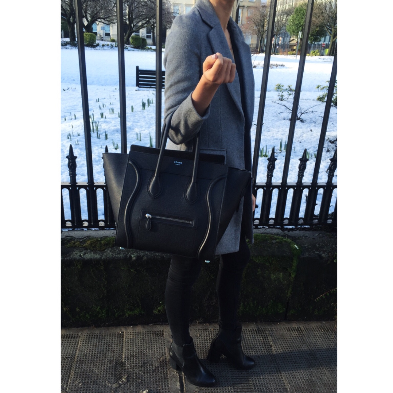 Winter Wear Long Grey Coat from Asos, Black Topshop Skinnies Styled with H&M Black Patent Booties and Black Céline Luggage Tote. //SHE