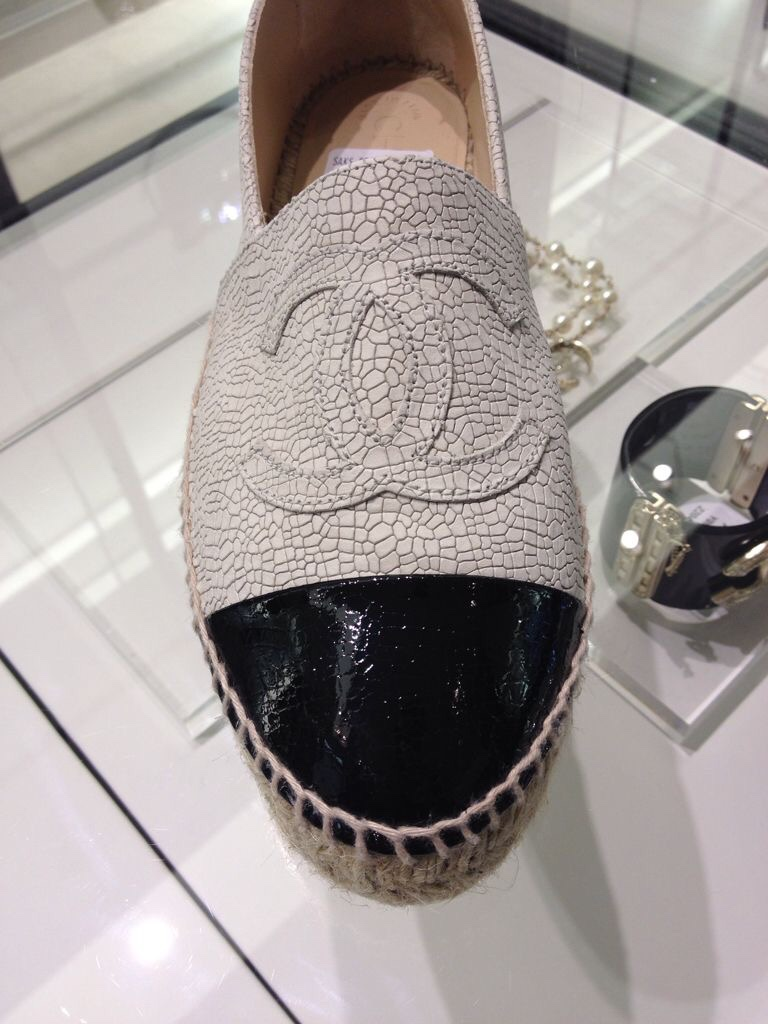 Chanel Espadrilles Summer Wish List- Chanel Espadrilles in All Black Leather & Cracked Leather in Taupe and Black- Love! S H E