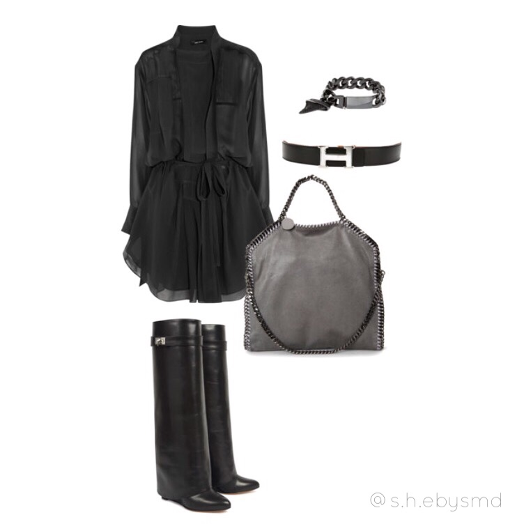 Daytime Chic Love this Isabel Marant shirt dress and Givenchy knee high boots- styled with Hermès belt, Givenchy shark tooth chain bracelet and Stella McCartney suede bag with chain lining. Check out my polyvore- shebysmd //SHE