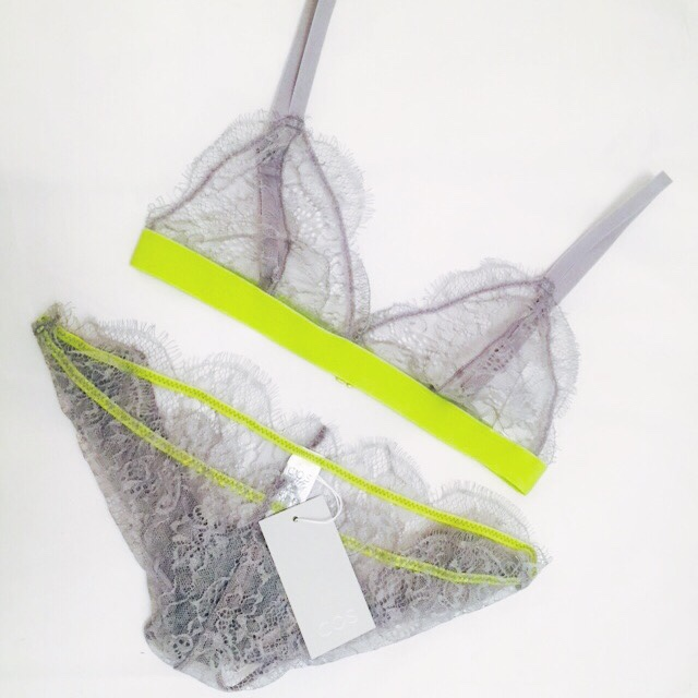 Sporty Intimates New Cos grey lace lingerie set with neon trim. Perfect for coming into spring/ summer as it looks even better on with a tan! More images of the set styled coming soon! S H E
