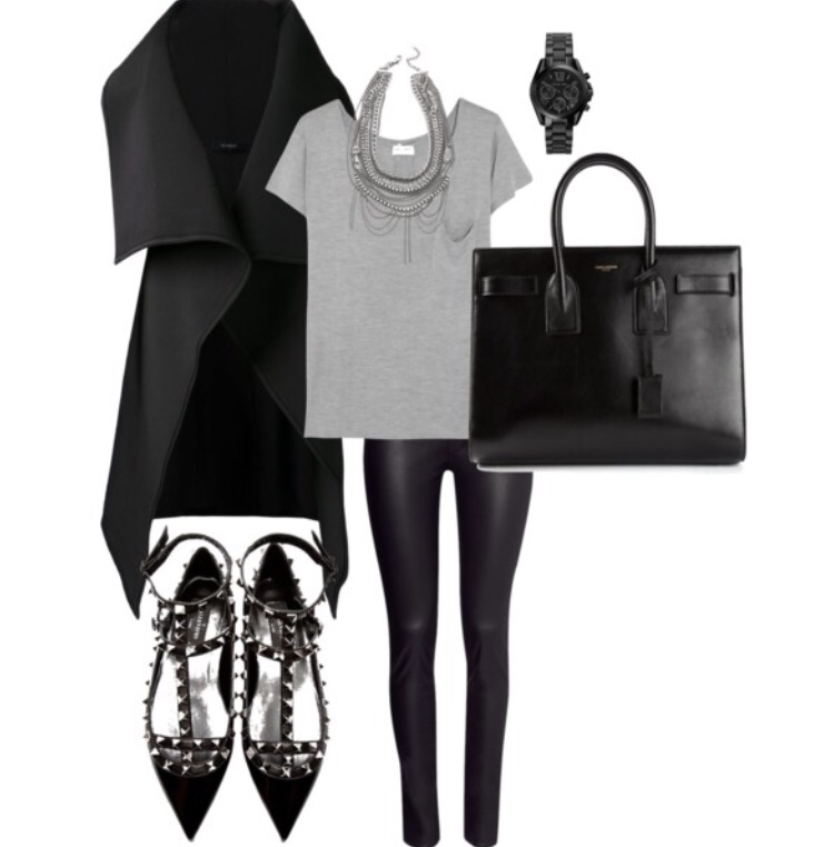 Casual Chic Black leather trousers from H&M, Grey basic tee, Black wrap waistcoat with black Saint Laurent 'Sac de Jour' Tote and black Valentino Rockstud Flats. accessorised with a silver statement chain necklace and classic Michael Kors black and silver watch. (Created on Polyvore) hmstreetstyle michaelkorsfashion //SHE