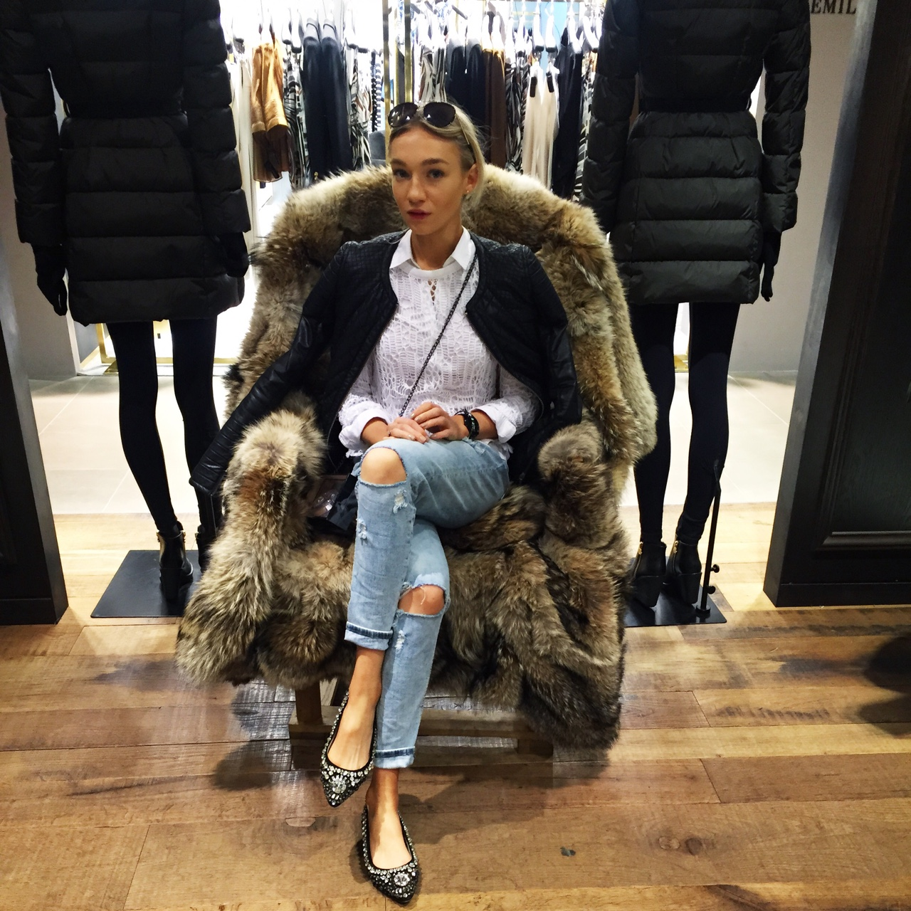 Imagine a Moncler fur chair… Flashing back to La Rinascente chilling at the Moncler section! Loved looking at the more fashion forward jackets and the baby Moncler- so cute! S H E
