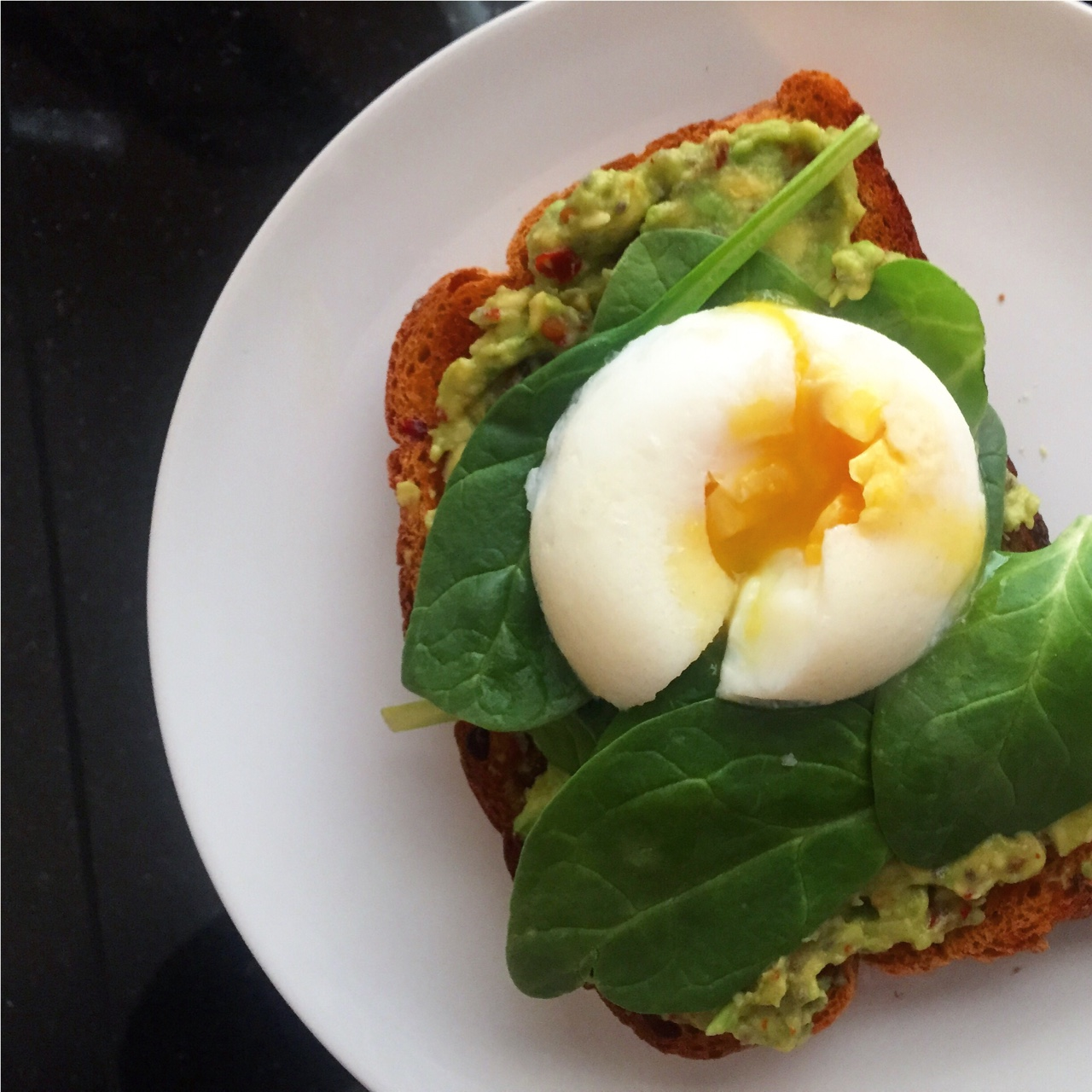 Friyay breakfast! Best way to start the day is with avoc, egg & greens! Today, I enjoyed smashed avocado with chilli flakes on a slick of sun-dried tomato bread with spinach and a poached egg- Friday fuel! S H E
