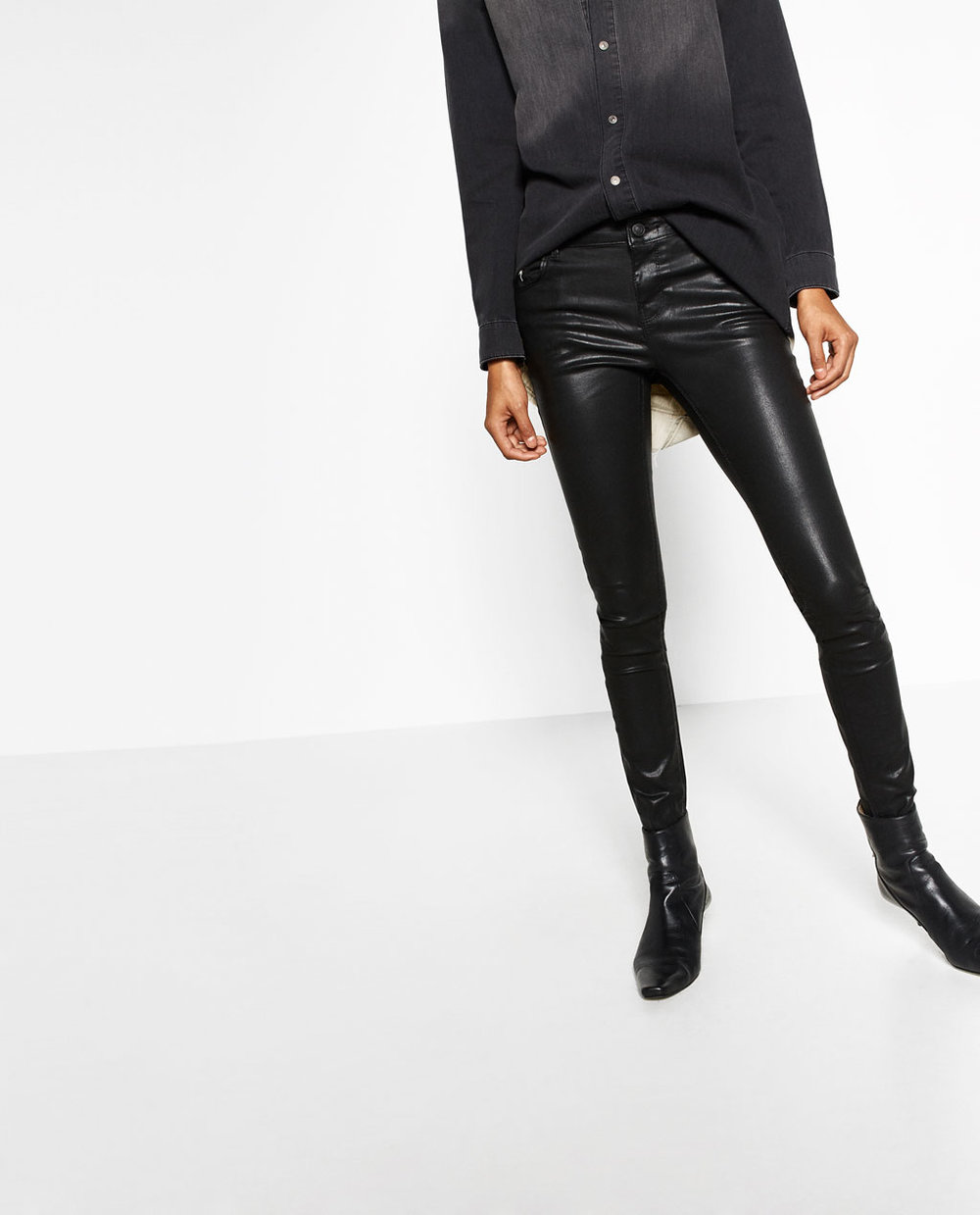 ZARA - LEATHER LOOK TROUSERS