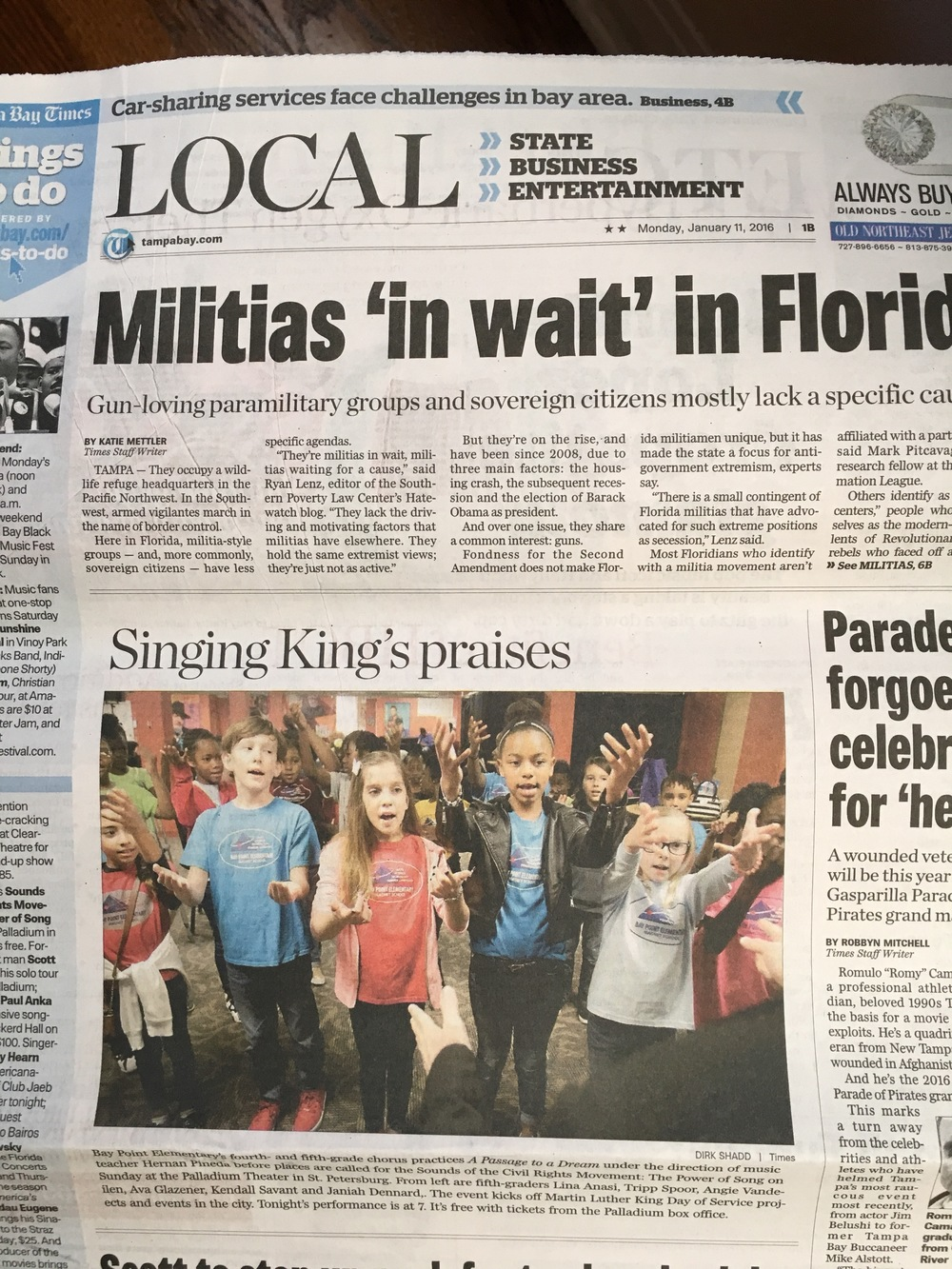 Students from Bay Point Elementary joined the cast of Sounds of the Civil Rights Movement: The Power of Song 2016 and were featured in this photograph in the Tampa Bay Times. The photo shows the students at The Palladium Theater where the performances were held.