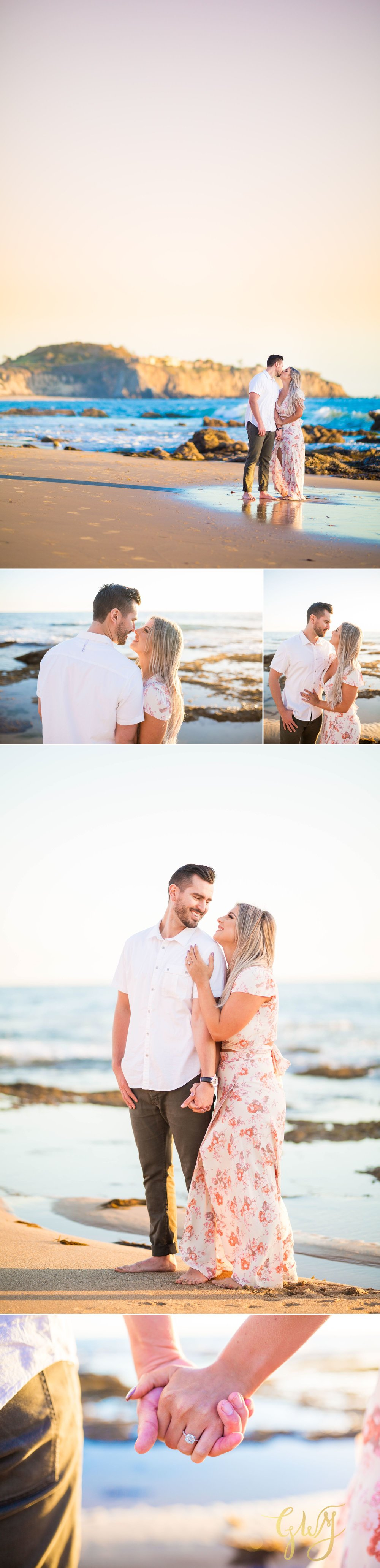 Christien + Crystal Back Bay Newport Crystal Cove Reef Point Sunset Engagement Portrait Session by Glass Woods Media 16.jpg