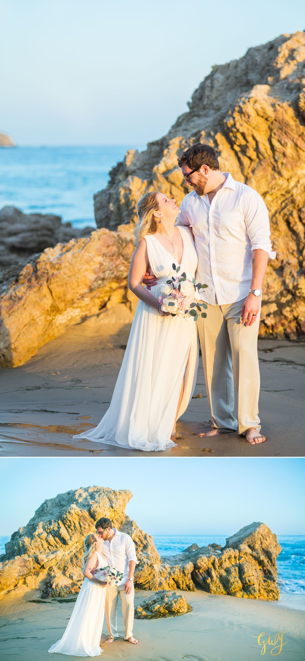 Amanda + Joe Reef Point Crystal Cove Newport Beach Sunset Romantic Intimate Elopement by Glass Woods Media 14.jpg