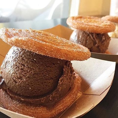 "Nothing says ""I love you"" more than a churro ice cream sandwich 😍❤️😍 Share one with a special friend or a forever valentine! 📸: @howtocatchacupcake"