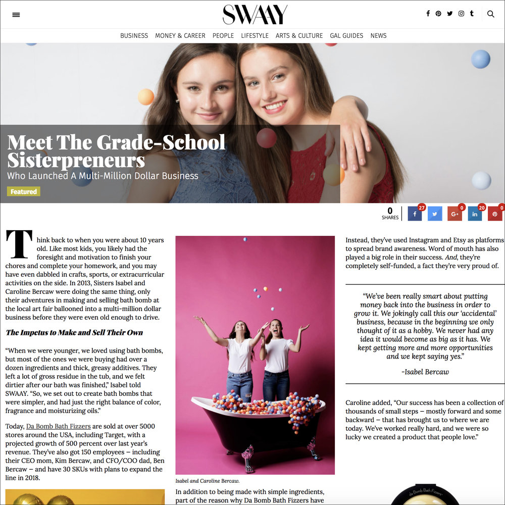 Da Bomb Bath Fizzers sisterpreneurs Isabel and Caroline Bercaw in Swaay business article. Links to article.