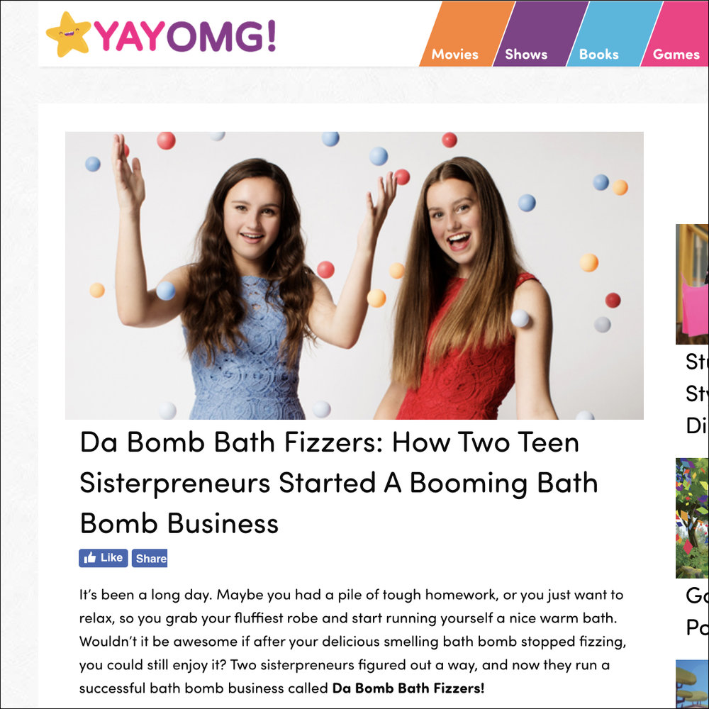 YAYOMG article of Da Bomb Bath Fizzers sisters Isabel and Caroline Bercaw. Links to article.