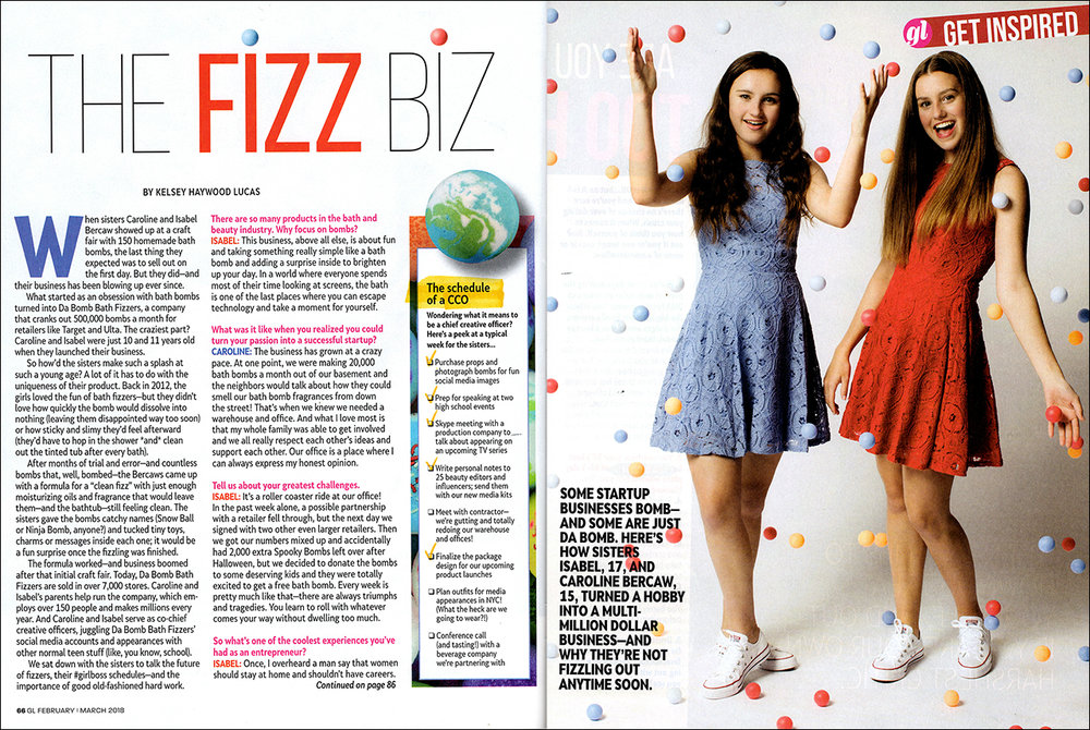 Da Bomb Bath Fizzers sisters Isabel and Caroline Bercaw in Girl's Life magazine article the fizz bizz discussing bath bomb business.
