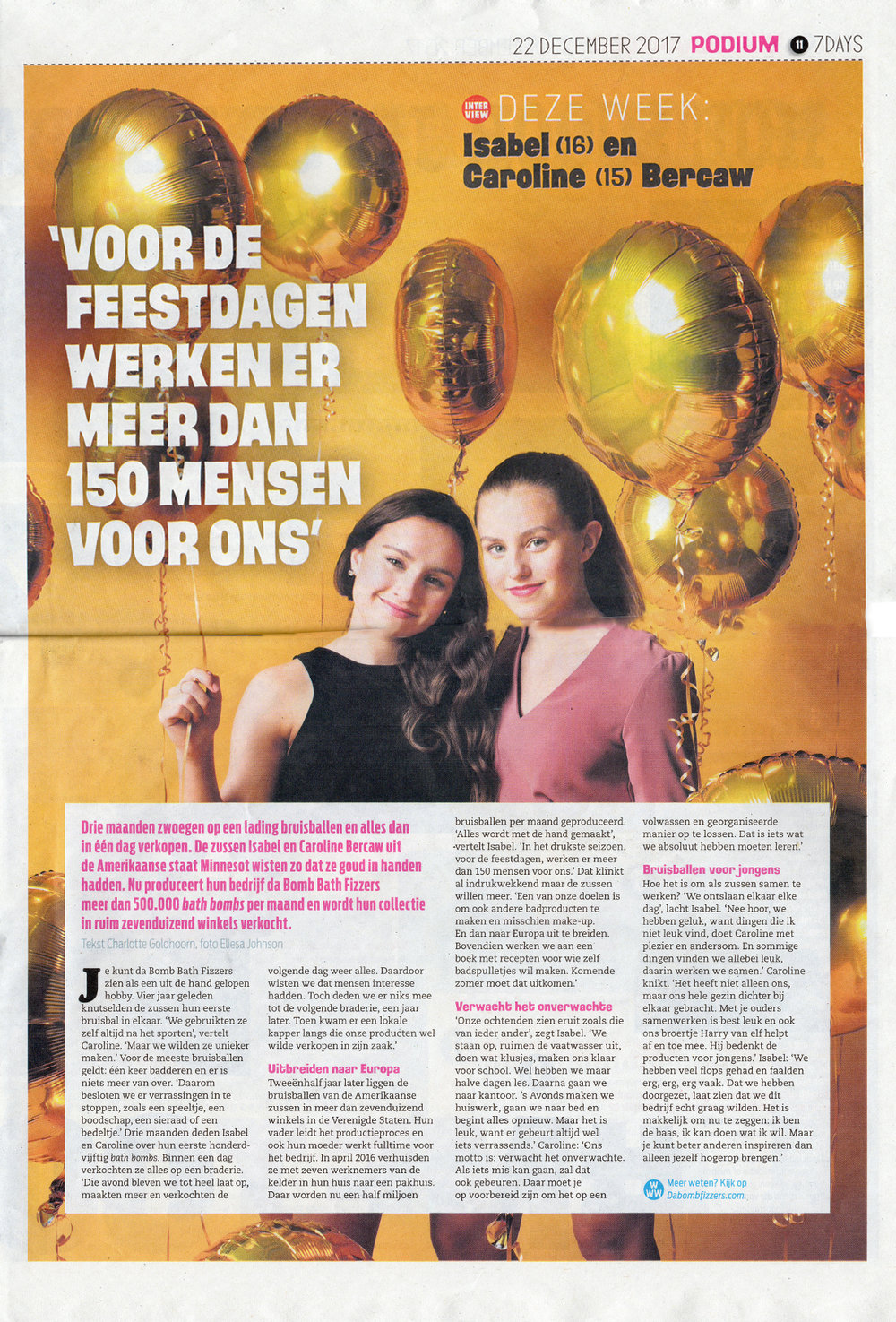 Da Bomb Bath Fizzers sisters Isabel and Caroline Bercaw in dutch newspaper 7 days.