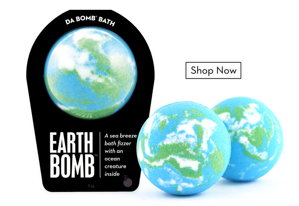 Packaged and unpackaged Earth Bombs with Shop Now icon. Links to the Earth Bomb product page.