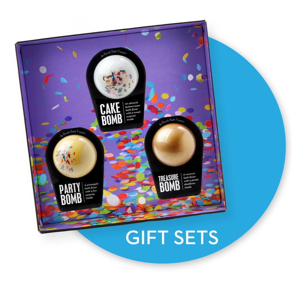 Bath bomb gift set. Links to bath bomb gift sets page.