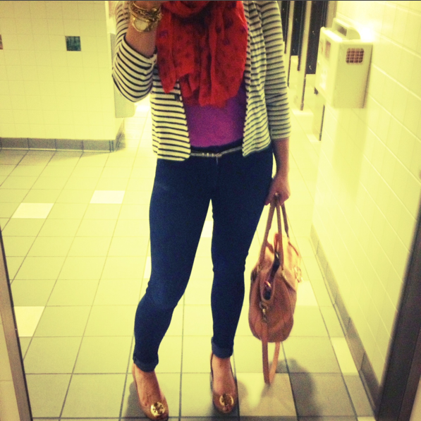Lauren layered a striped blazer over a bright tee and scarf while traveling. {This pic was taken in an airport bathroom!}