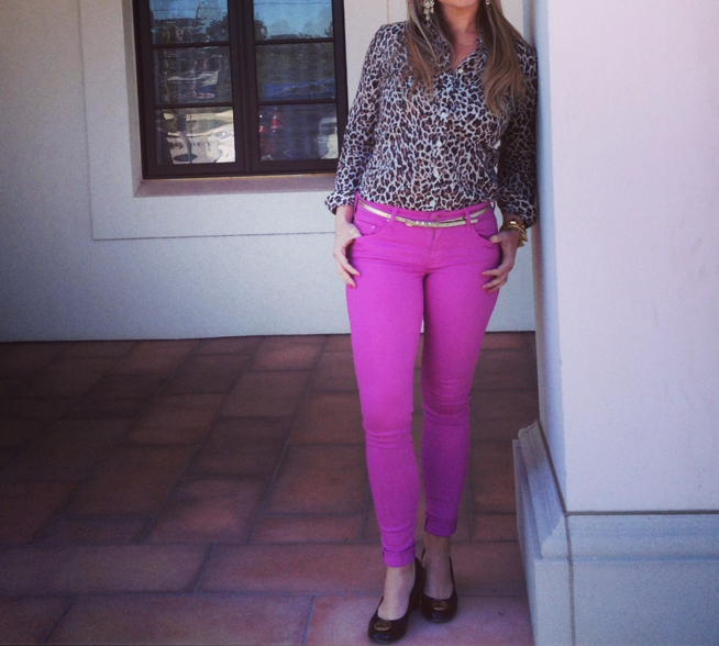 "Lauren paired a neutral animal print blouse with pop color skinnies, to ""tone"" down the bright color for cooler temps."