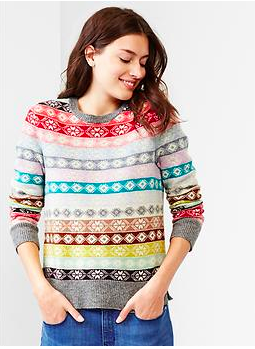 Gap Fair Isle Striped Wool Sweater.