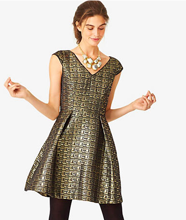 Kate Spade Saturday Baroque Cap Sleeved Flared Dress.