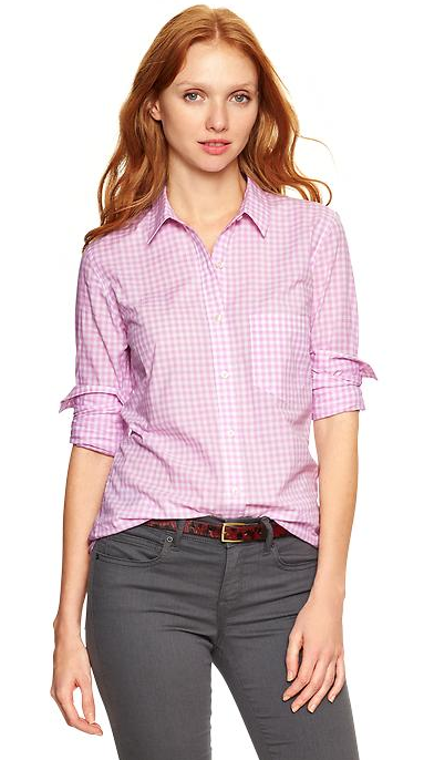 Gap Fitted Boyfriend Gingham Shirt.