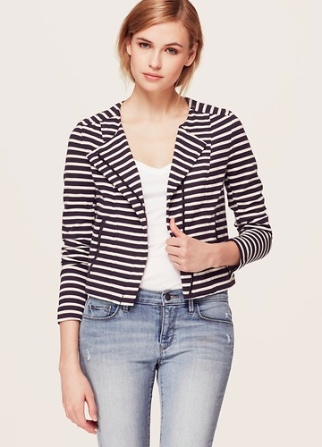 LOFT Striped Cotton Moto Jacket.