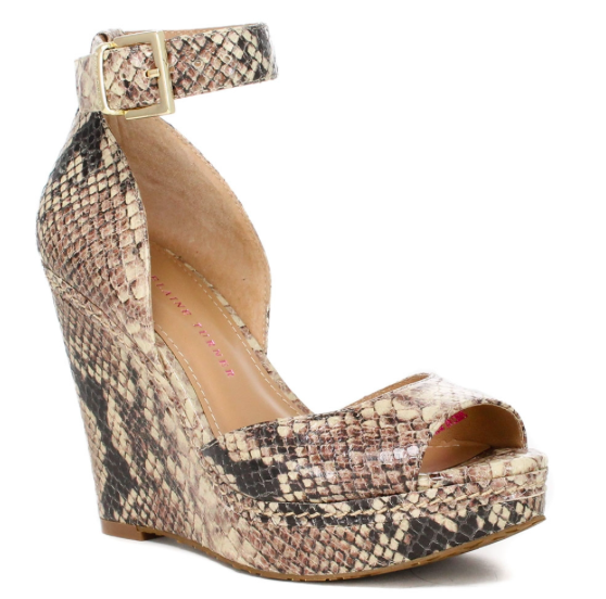 Elaine Turner Python Embossed Leather Wedge.
