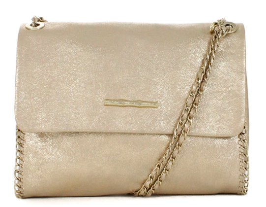 Elaine Turner Nala Champagne Leather Handbag.