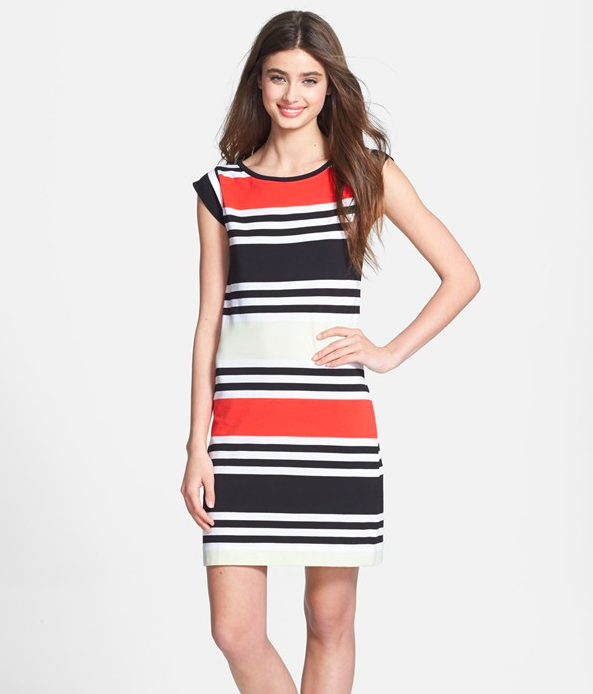 French Connection Striped Stretch Cotton Knit Dress.