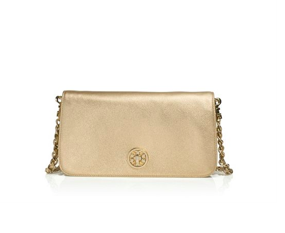 Tory Burch Adalyn Metallic Clutch.