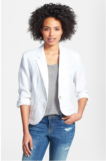Olivia Moon Three Quarter Sleeved Linen Blazer via Nordstrom.