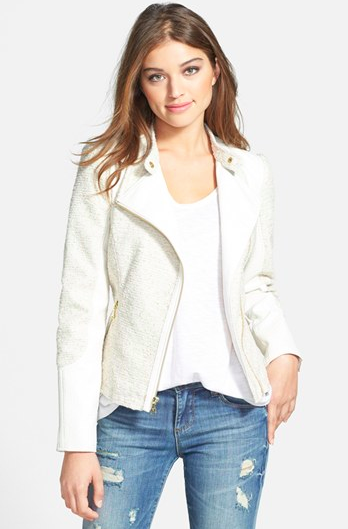 Guess Tweed & Faux Leather Asymmetrical Zip Jacket via Nordstrom.