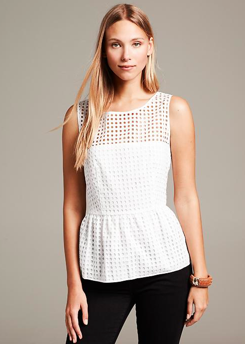 Banana Republic Box Eyelet Peplum Top.