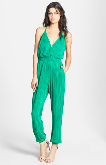 June & Hudson Strap Back Textured Jumpsuit.
