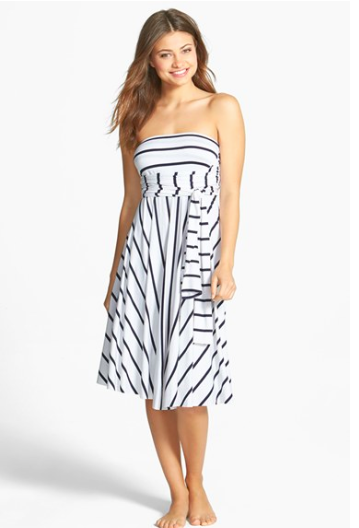 Elan Striped Convertible Cover Up Dress.