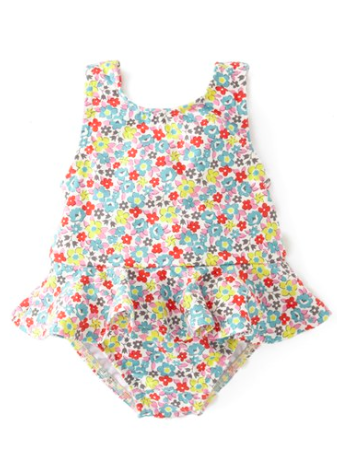 Mini Boden Floral Ruffled Swimsuit.