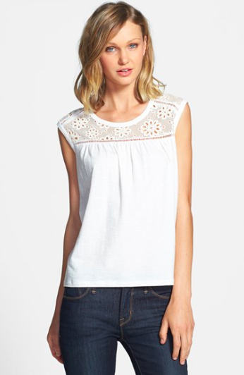 Two by Vince Camuto Eyelet Mesh Top.