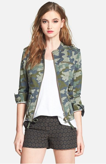 Halogen Stretch Cotton Twill Military Jacket.