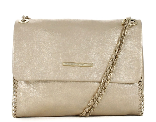 Nala Champagne Leather Handbag.
