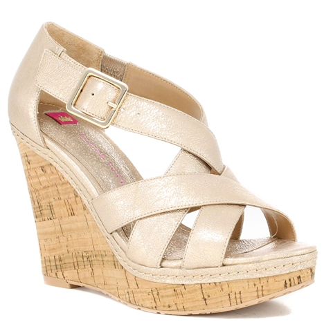 Katrina Champagne Leather Wedge.