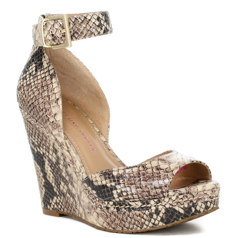 Kayla Python Embossed Leather Wedge.