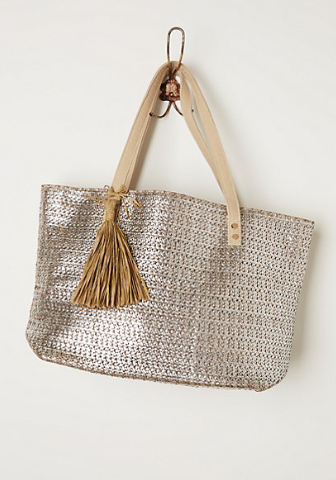 Anthropologie Metallic Weave Tote, $98.