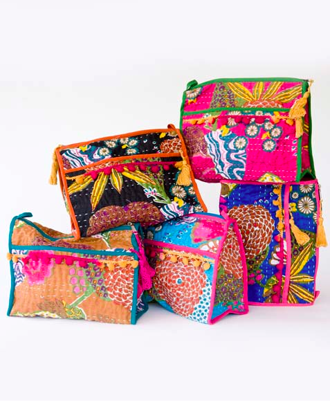 Patchwork Makeup Bags, $28/each.