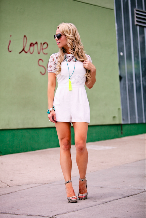Topshop Eyelet Panel Short Sleeve Romper.